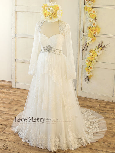 A Line Lace Wedding Dress with Removable Lace Bolero