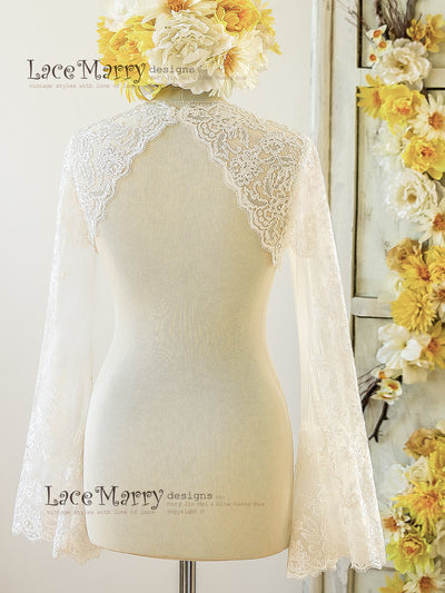 Removable Lace Bolero from Soft Tulle and Lace Applique