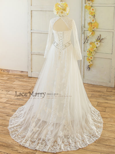 A Line Lace Wedding Dress with Long Train