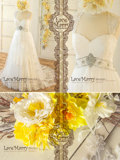 Bohemian A Line Lace Wedding Dress with Removable Lace Bolero