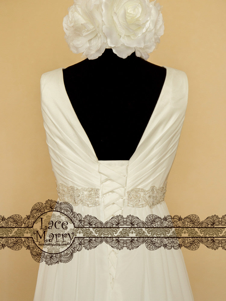 V on the Back Chiffon Wedding Dress with Laceup and Beaded Belt