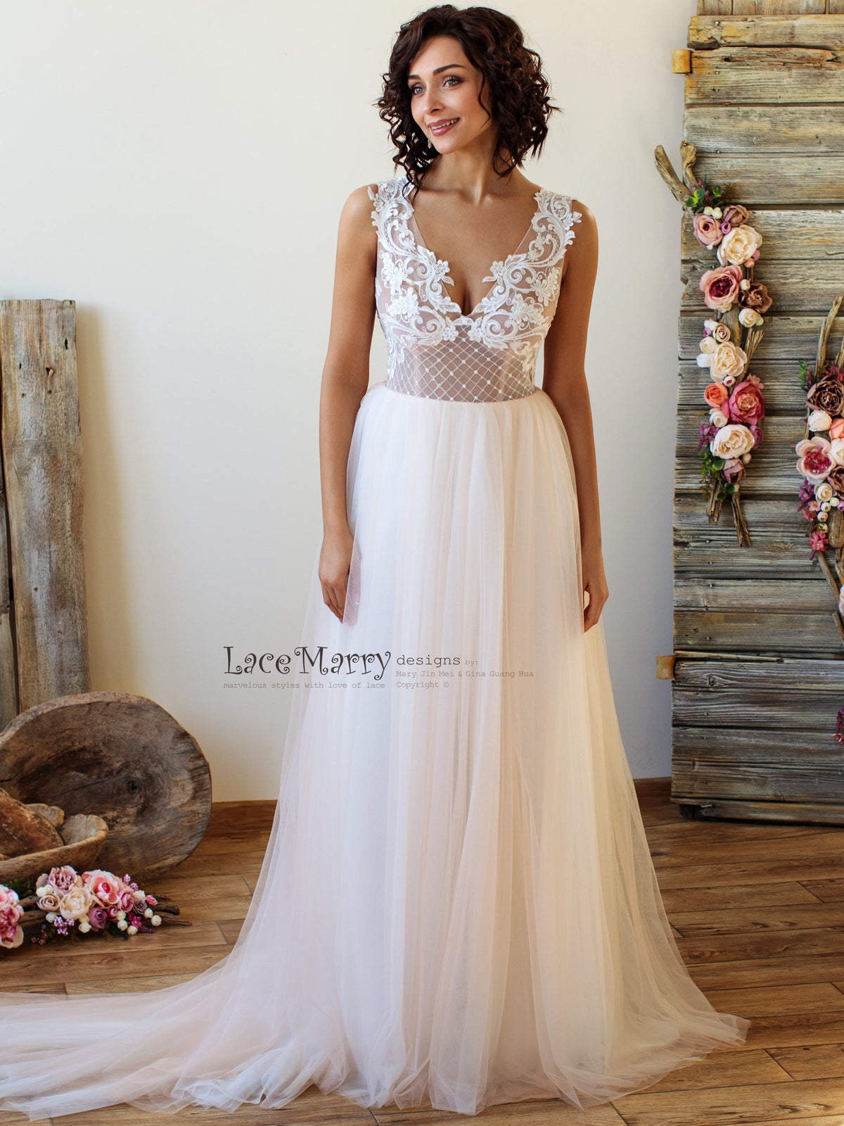 A Line Beach Wedding Dress with Airy Tulle Skirt