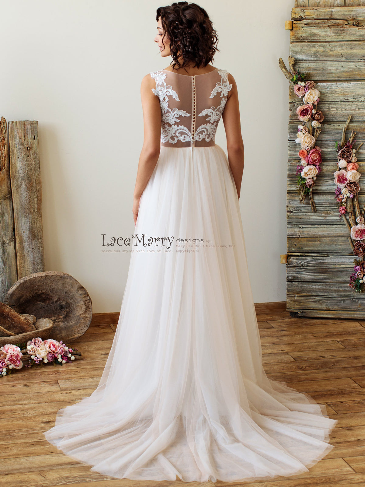 Illusion Back Wedding Dress with Ombre Skirt