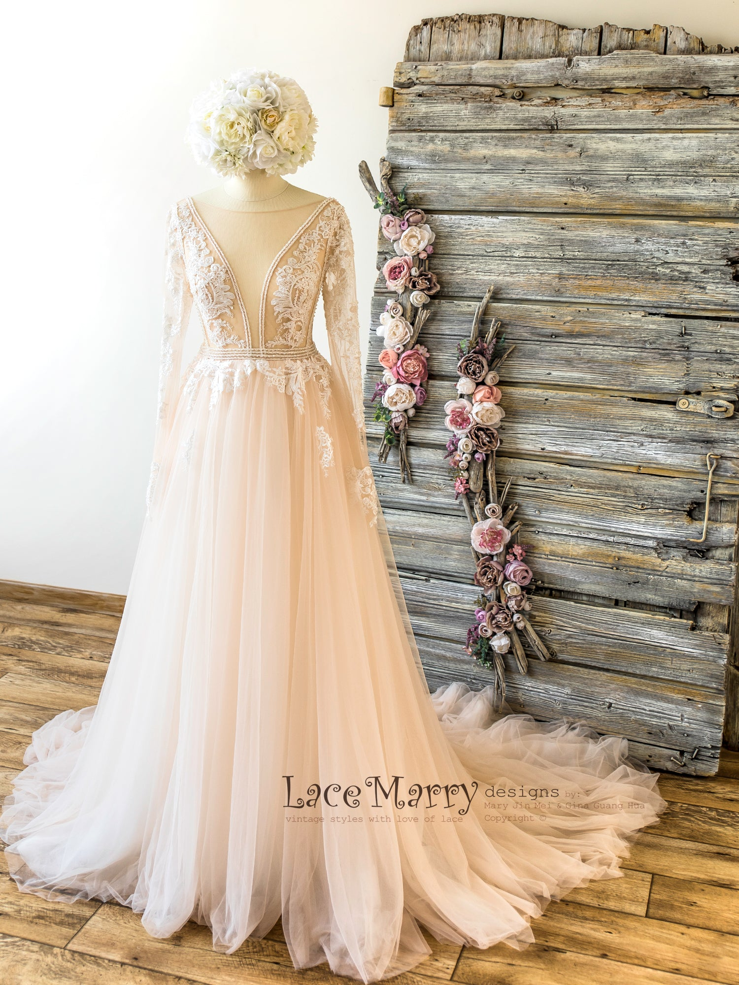 Ombre Wedding Dress in Nude Tulle and Ivory Applique