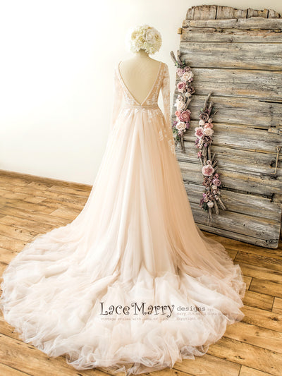 Long Tulle Train Wedding Dress