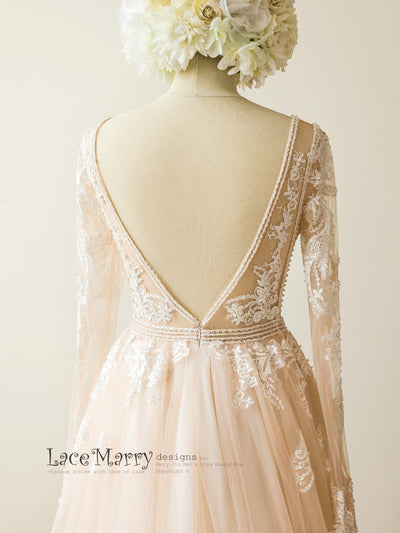 Romantic V Cut Back Wedding Dress