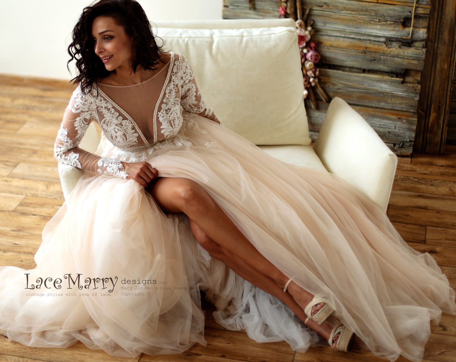 Deluxe Lace Wedding Dress in Nude Tulle and Ivory Applique