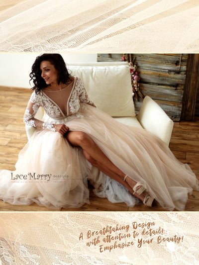 Romantic and Sexy Tulle Wedding Gown