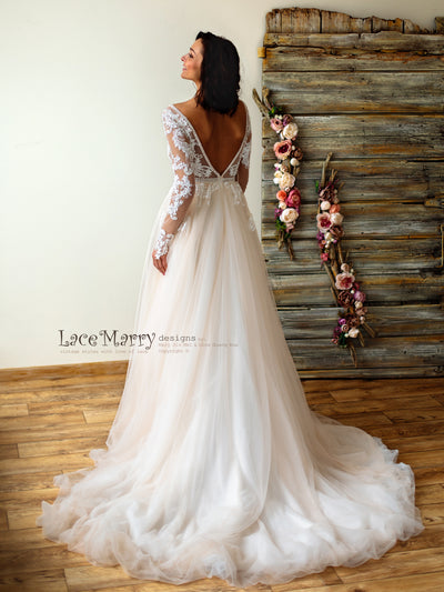 Ombre Tulle Skirt Wedding Dress