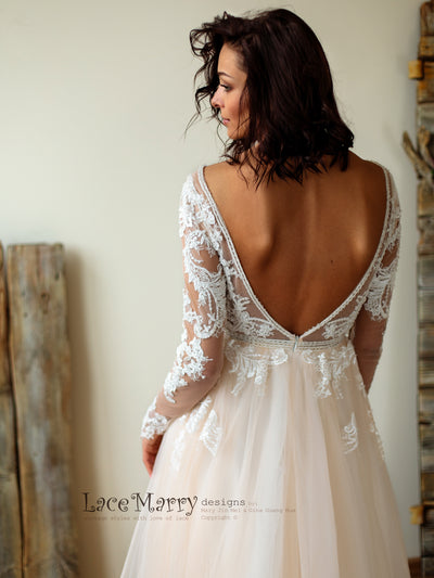 Deep V Cut Back Lace Wedding Dress