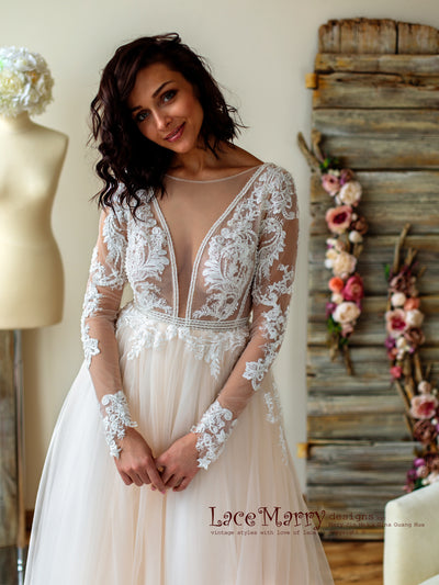 Deep Plunge Tulle Wedding Dress