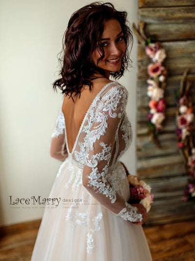Romantic Lace Sleeves Wedding Dress