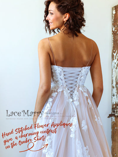 Corset Back Wedding Dress with Ivory Flower Appliques