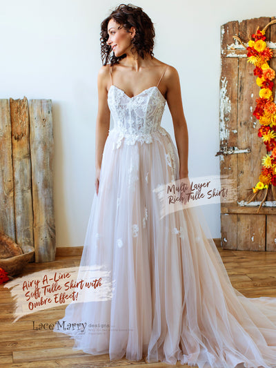 A Line Boho Wedding Dress with Tulle Skirt