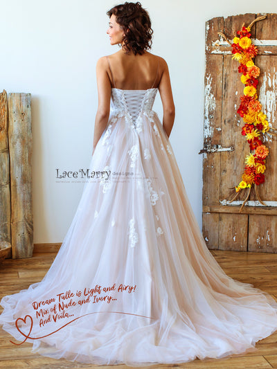 Beach Wedding Dress with Airy Tulle Skirt