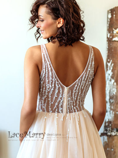 Light Wedding Dress with Beaded Top