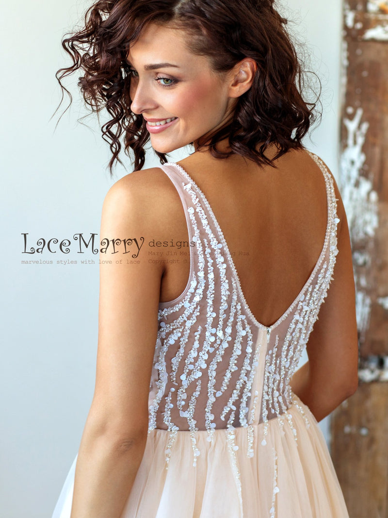 Nude Wedding Dress with Hand Beading
