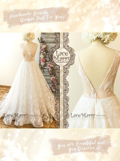 A Line Lace Wedding Dress with Feather Pattern