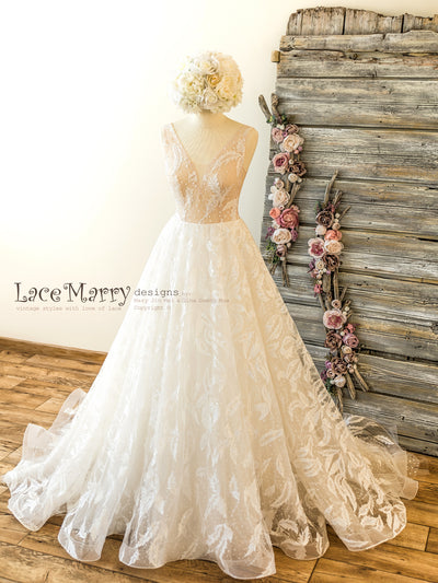 Horse Hair Lace Wedding Dress