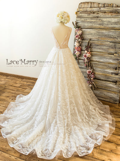 Lace Wedding Dress with A Line Skirt