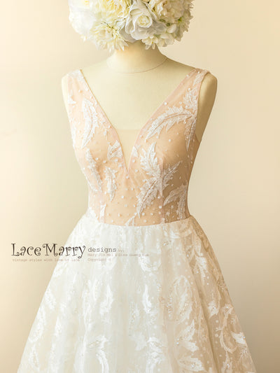 Nude Wedding Dress with Illusion V Neckline