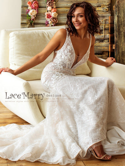 Geometric Sparkling Lace Wedding Dress