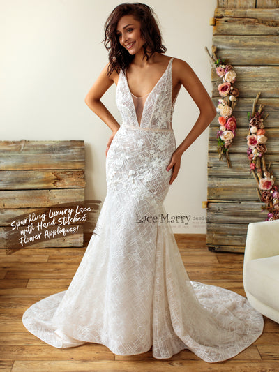 Mermaid Wedding Dress from Sparkly Geometric Lace