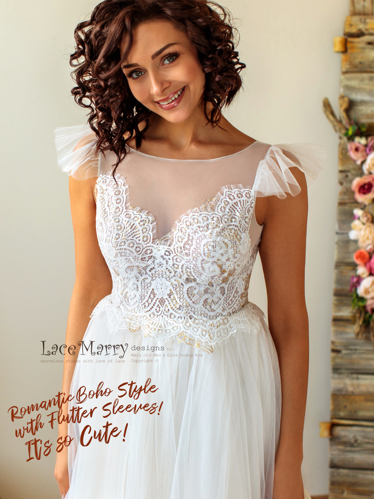Bohemian Wedding Dress with Gold and Ivory Lace