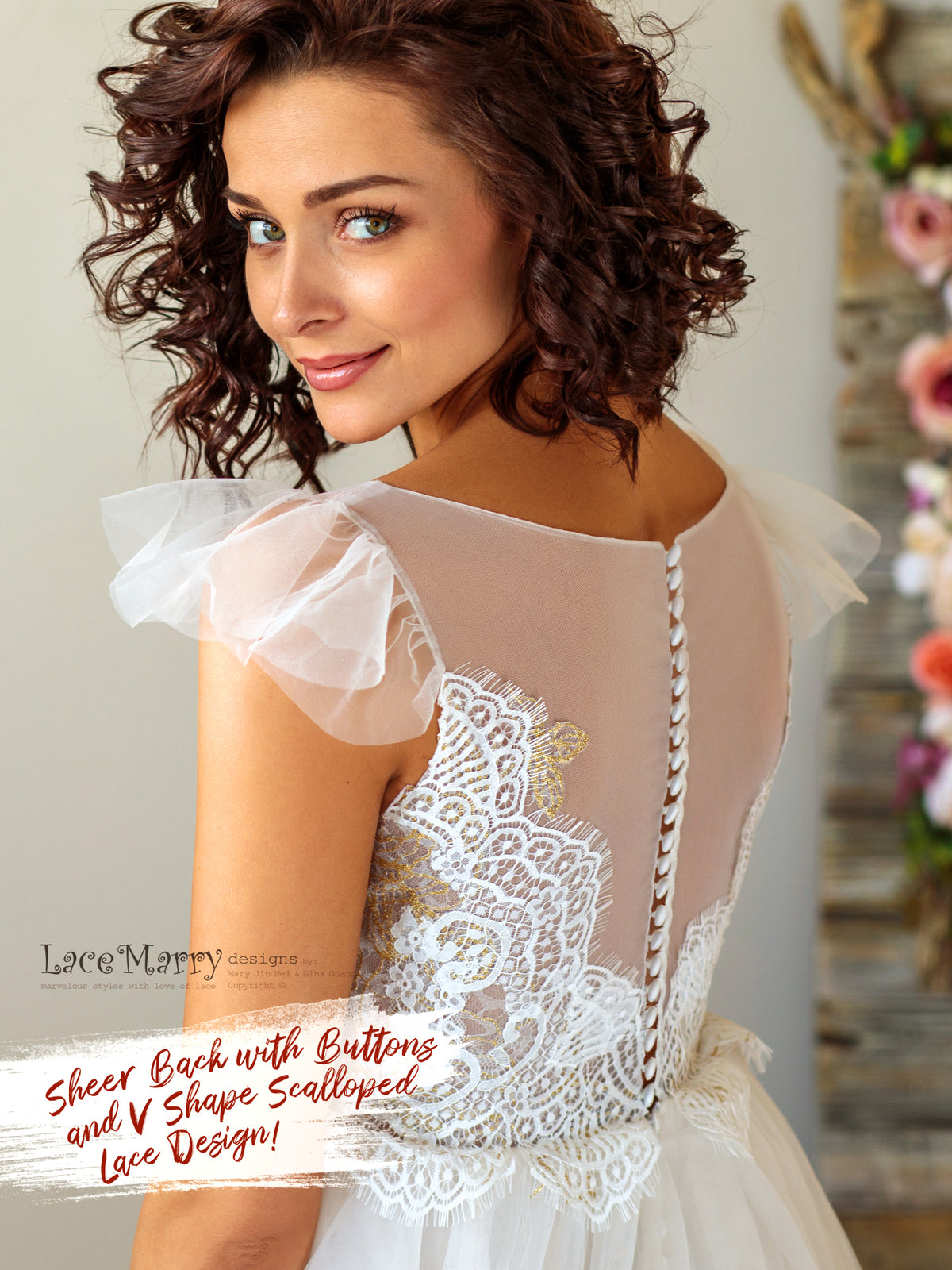 Ivory Wedding Dress with Illusion Top