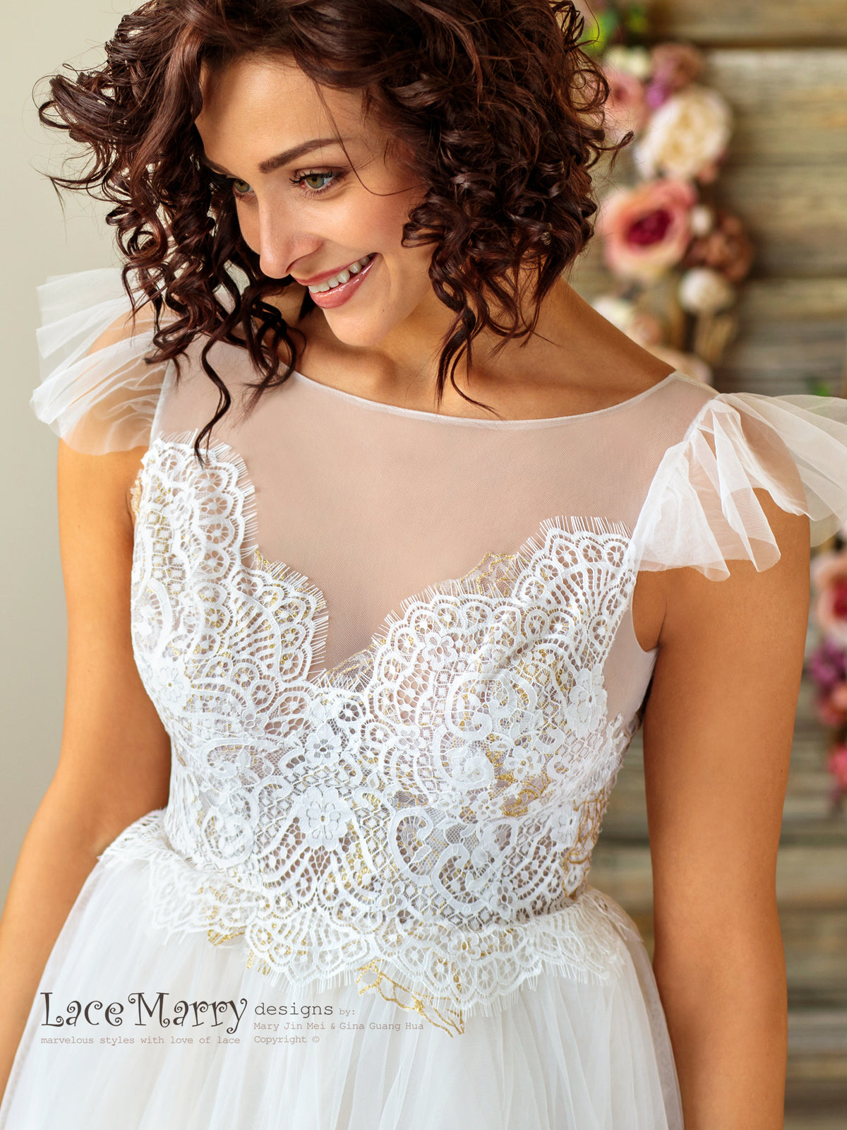 Charming Boho Wedding Dress with Flutter Sleeves