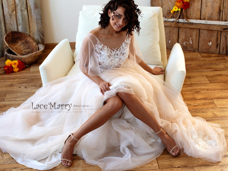 Bohemian Tulle Wedding Dress in Nude Color