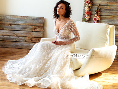 Bohemian Style Wedding Dress with Long Lace Sleeves