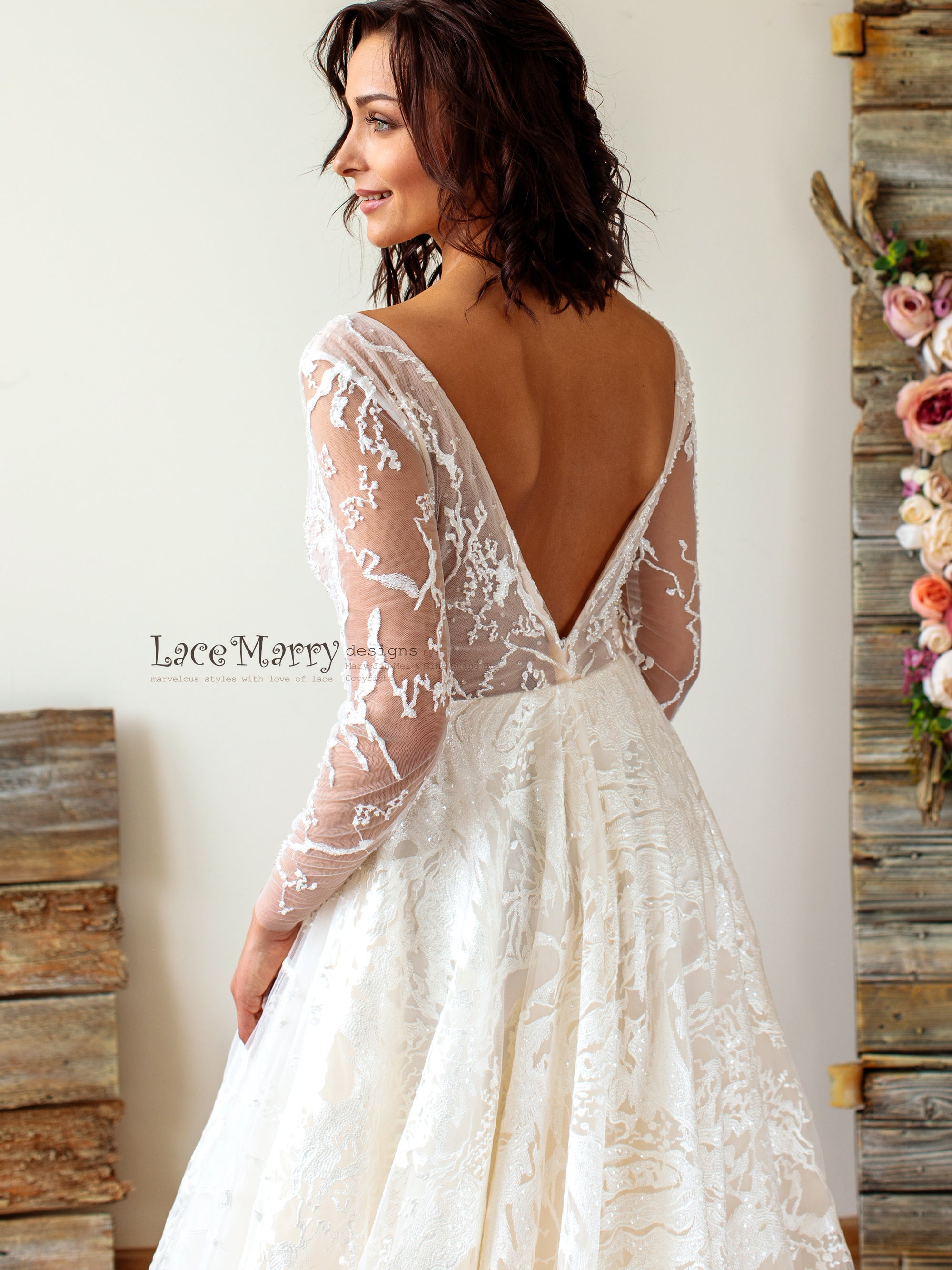 Long Sleeves Lace Wedding Dress with Deep Neckline