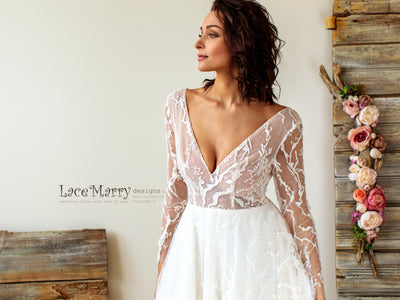 Sexy Wedding Dress with Deep Neckline and Long Sleeves