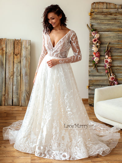 A Line Skirt Lace Wedding Dress