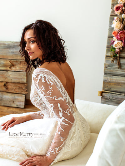 Amazing Long Lace Sleeves Wedding Dress with A Line Skirt