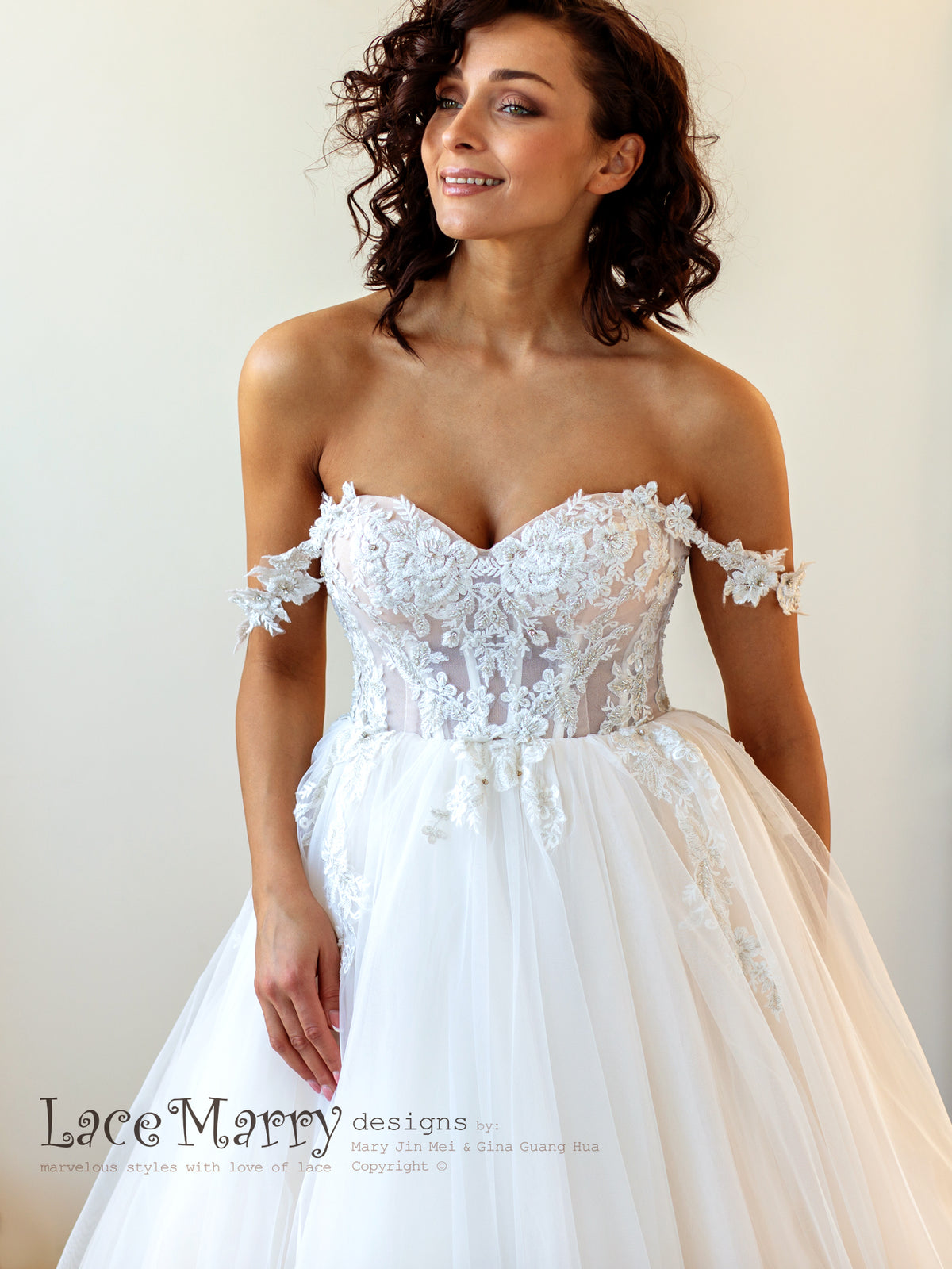 Off Shoulder Straps Wedding Dress with Corset Bodice