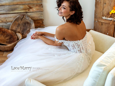 Corset Style Wedding Dress with Off Shoulder Straps