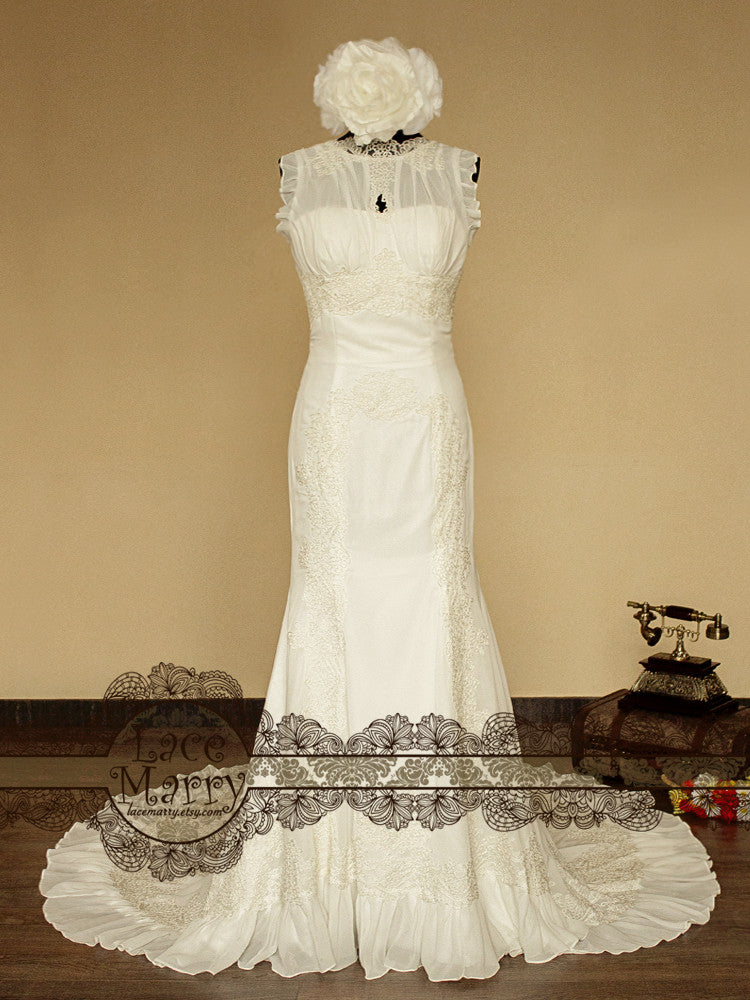 Dramatic Vintage Inspired Wedding Dress with Lace Appliques