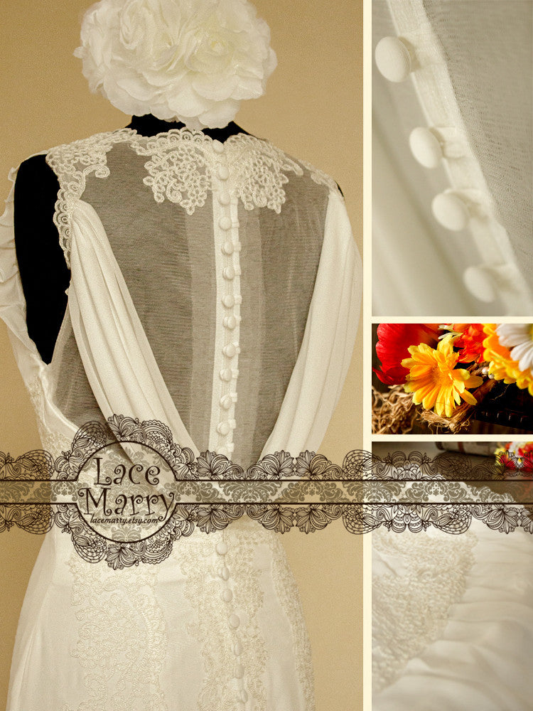 wedding dress with button on the back