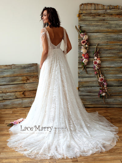 Romantic Lace Wedding Dress with Sleeves