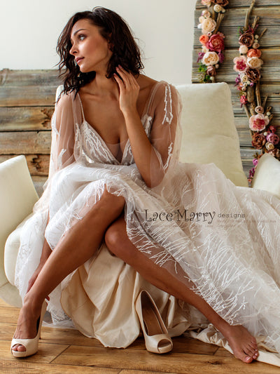 Sexy Wedding Dress with Flutter Sleeves
