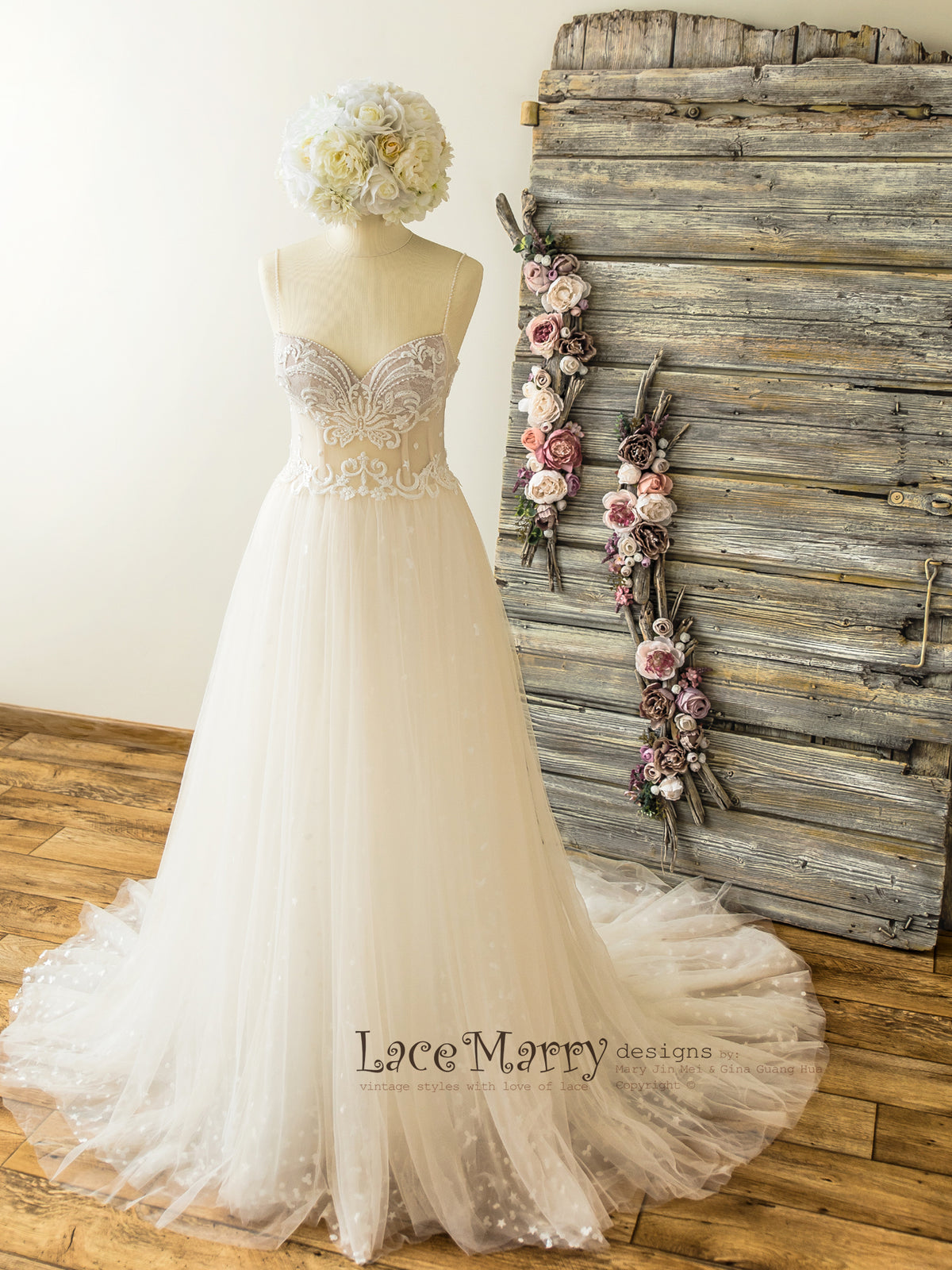Ivory Wedding Dress with Sweetheart Corset Bustier
