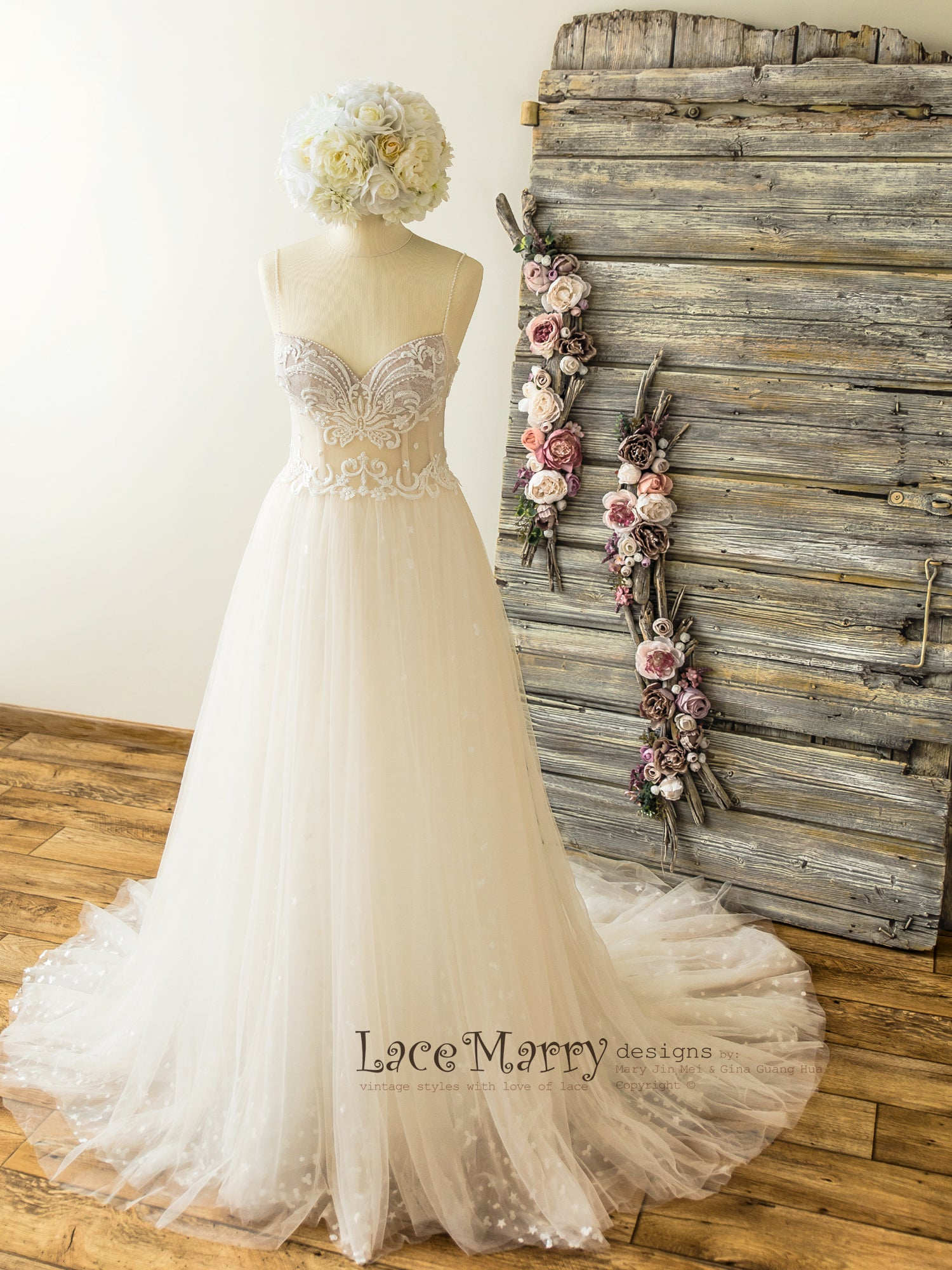 Beautiful Summer Wedding Dress with Beaded Swirl Lace