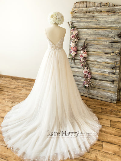 Deep V-Cut Open Back Wedding Dress with Tulle A-Line Skirt