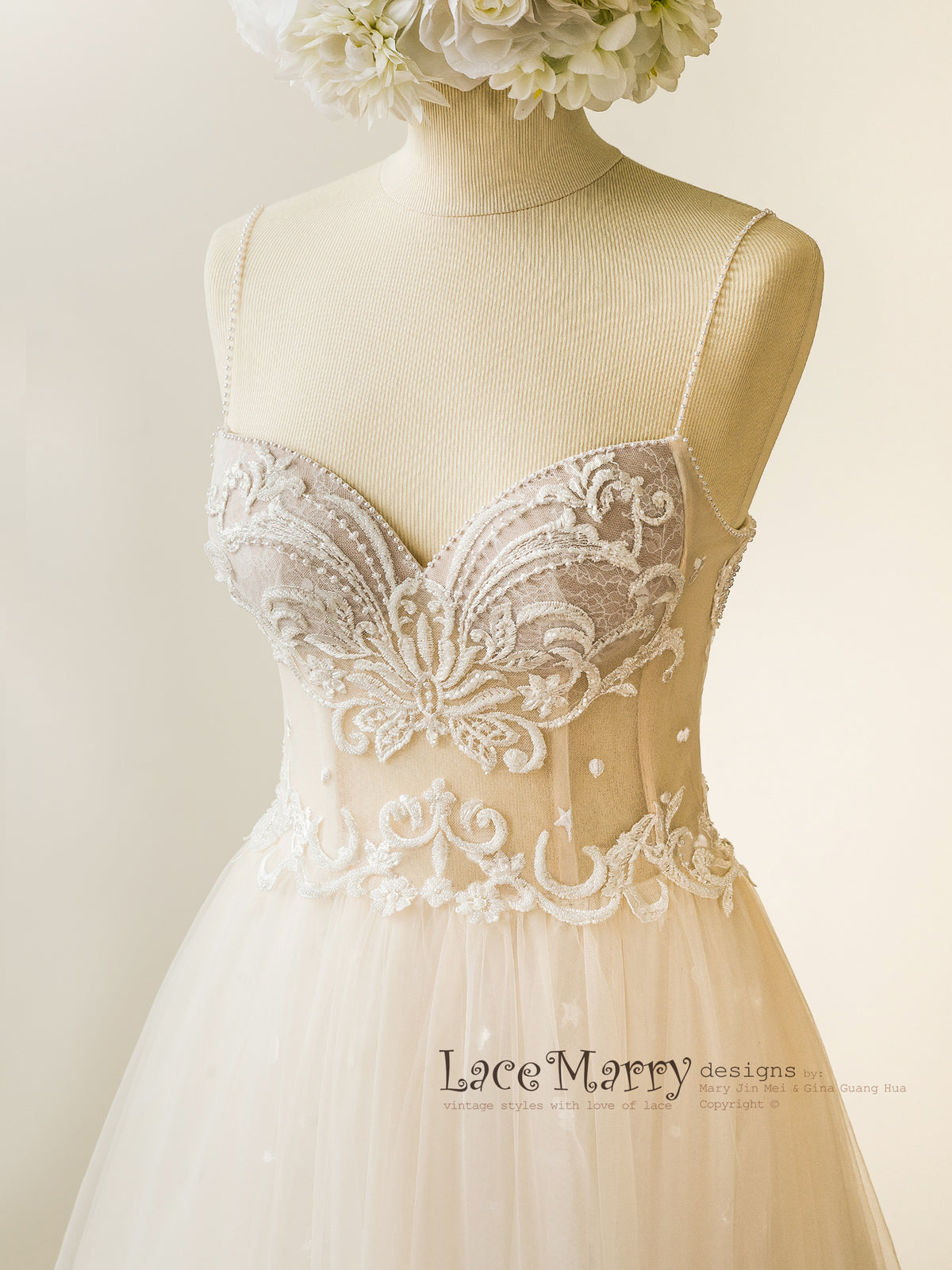 Sweetheart Bustier Corset Wedding Dress with Beading