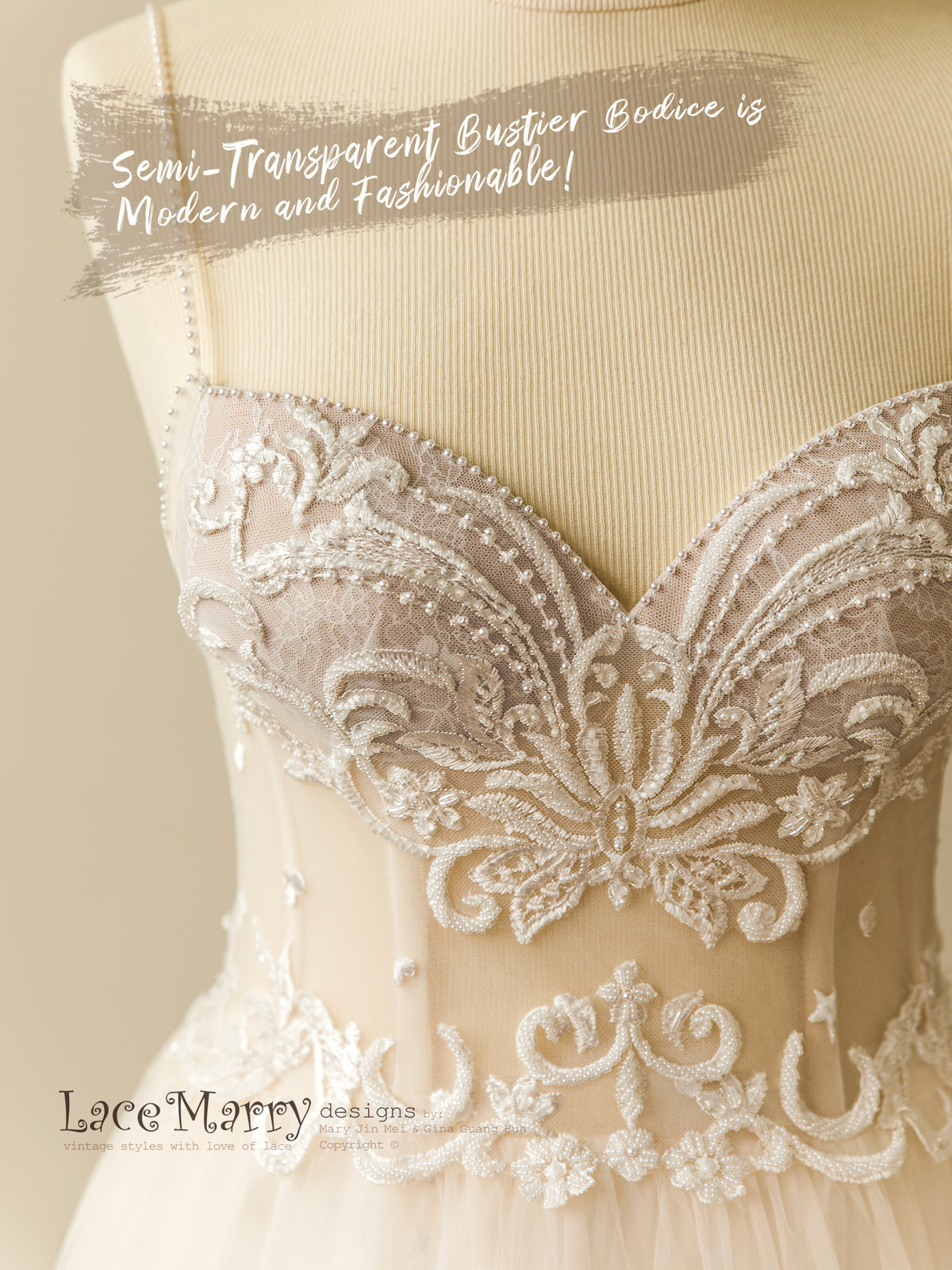 Wedding Dress with Delicate Beading on Bustier Corset Top