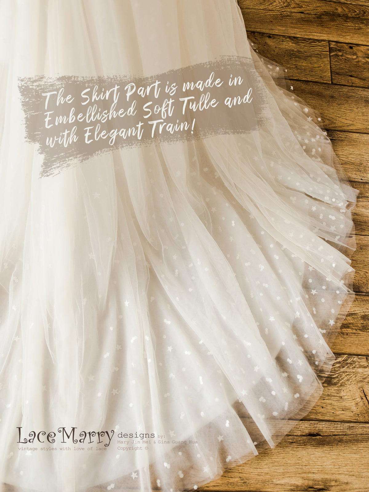 Wedding Dress Skirt from Tulle with Dots and Stars