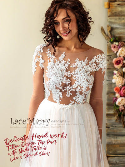 A Line Airy Wedding Dress with Long Sleeves