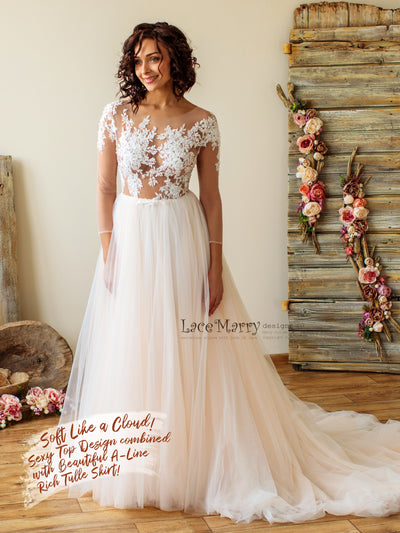 Sexy Boho Wedding Dress with Long Sleeves